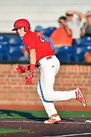Johnson City Cardinals Mateo Gil (23) runs to first base during game three of the Appalachian League, West Division Playoffs against the Bristol Pirates at TVA Credit Union Ballpark on September 1, 2019 in Johnson City, Tennessee. The Cardinals defeated the Pirates 7-5 to win the series 2-1. (Tony Farlow/Four Seam Images)