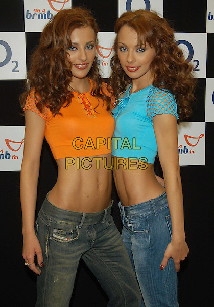 CHEEKY GIRLS.96.4 BRBM's Party in the Park .sales@capitalpictures.com.www.capitalpictures.com.©Capital Pictures.music, orange, turquoise, bright, diesel denim jeans, crop top, midriff, belly, stomach, twins