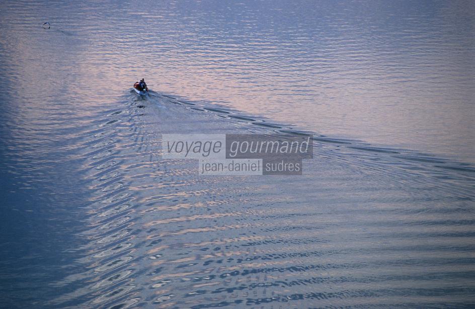 Europe/France/Bretagne/56/Morbihan/Golfe du Morbihan: Le golfe au soleil couchant, bateau et son sillage  Vue aérienne