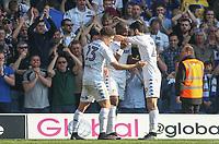 Leeds United's Souleymane Doukara celebrates scoring his sides third goal with teammate Alfonso Pedraza<br /> <br /> Photographer Alex Dodd/CameraSport<br /> <br /> The EFL Sky Bet Championship - Leeds United v Preston North End - Saturday 8th April 2017 - Elland Road - Leeds<br /> <br /> World Copyright &copy; 2017 CameraSport. All rights reserved. 43 Linden Ave. Countesthorpe. Leicester. England. LE8 5PG - Tel: +44 (0) 116 277 4147 - admin@camerasport.com - www.camerasport.com