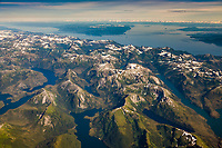 Aerial of the Coast mountains, Tongass National Forest, near Ketchikan, southeast, Alaska.