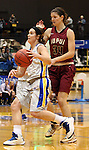 BROOKINGS, SD - JANUARY 9:  Steph Paluch #15 from South Dakota State University drives past Nevena Markovic #34 from IUPUI in the first half of their game Thursday night at Frost Arena in Brookings. (Photo by Dave Eggen/Inertia)
