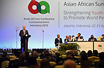 Palestinian Prime Minister Rami Hamdallah delivers a speech during the Asian African Conference in Jakarta April 22, 2015. The 60th Asian-African Conference is held in Jakarta and Bandung from 19 to 24 April 2015. Photo by Prime Minister Office