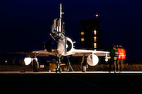 French Dassault-Breguet Mirage 2000 being prepared for night operations. Control Tower in background. BOLD AVENGER 2007 (BAR 07), a NATO  air exercise at Ørland Main Air Station, Norway. BAR 07 involved air forces from 13 NATO member nations: Belgium, Canada, the Czech Republic, France, Germany, Greece, Norway, Poland, Romania, Spain, Turkey, the United Kingdom and the United States of America. The exercise was designed to provide training for units in tactical air operations, involving over 100 aircraft, including combat, tanker and airborne early warning aircraft and about 1,450 personnel.