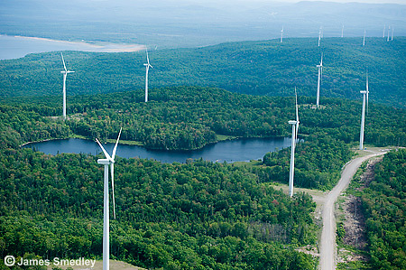 Wind turbine farm in Northern Ontario