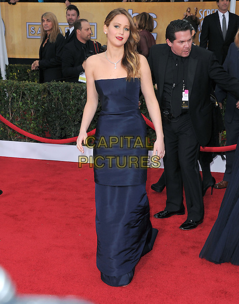 Jennifer Lawrence (wearing Christian Dior).Arrivals at the 19th Annual Screen Actors Guild Awards at the Shrine Auditorium in Los Angeles, California, USA..27th January 2013.SAG SAGs full length strapless dress blue navy .CAP/DVS.©DVS/Capital Pictures.