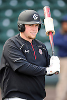 First baseman Collin Steagall (34) of the South Carolina Gamecocks prior to the Reedy River Rivalry game against the Clemson Tigers on Saturday, February 28, 2015, at Fluor Field at the West End in Greenville, South Carolina. South Carolina won, 4-1. (Tom Priddy/Four Seam Images)