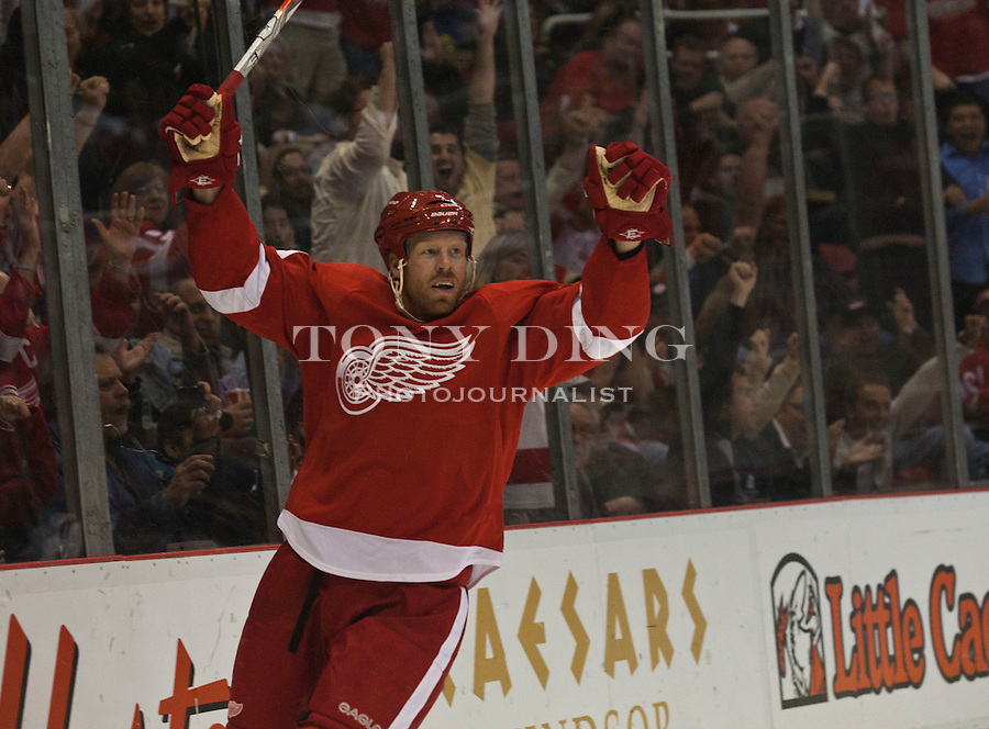 12 October 2010: Detroit Red Wings forward Johan Franzen (93) celebrates his second goal of the game, in the second period of the Colorado Avalanche at Detroit Red Wings NHL hockey game, at Joe Louis Arena, in Detroit, MI...***** Editorial Use Only *****