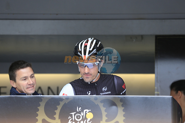 Fabian Cancellara (SUI) Trek Factory Racing at sign on in Ypres before the start of the cobbled stage Stage 5 of the 2014 Tour de France running 155.5km from Ypres to Arenberg. 9th July 2014.<br /> Picture: Eoin Clarke www.newsfile.ie