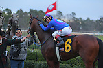 January 18, 2016: Jockey Jon Court aboard #6 Discreetness in the winners circle after winning the Smarty Jones Stakes at Oaklawn Park in Hot Springs, AR. Justin Manning/ESW/CSM