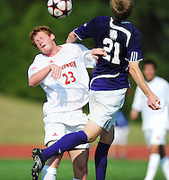 Wisconsin's Bryan Gerster heads the ball, as the University of Wisconsin men's soccer team tops Western Illinois 1-0 on Sunday at the McClimon Soccer Complex in Madison