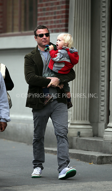 WWW.ACEPIXS.COM . . . . .  ....November 6 2009, New York City....Liev Schreiber and his son Alexander walks around his NoHo neighborhood on November 6, 2009 in New York City.....Please byline: NANCY RIVERA- ACE PICTURES.... *** ***..Ace Pictures, Inc:  ..tel: (212) 243 8787 or (646) 769 0430..e-mail: info@acepixs.com..web: http://www.acepixs.com