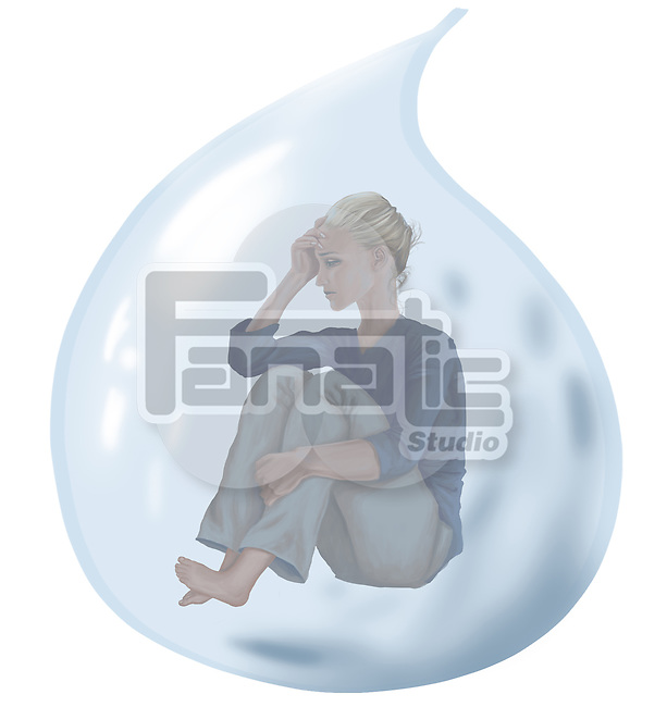 Conceptual illustration of tensed woman in tear depicting loneliness