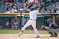 Jett Bandy (27) of the Salt Lake Bees at bat against the Reno Aces in Pacific Coast League action at Smith's Ballpark on May 10, 2015 in Salt Lake City, Utah.  Salt Lake defeated Reno 9-2 in Game One of the double-header. (Stephen Smith/Four Seam Images)