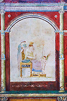 Roman fresco wall decorations of the Bedroom B, the Villa Farnesia, Rome. Museo Nazionale Romano ( National Roman Museum), Rome, Italy.<br /> <br /> The bedroom (cubiculum). an intimate space with a bed (kline), divided into antechamber and bed alcove, has a rich decoration whose dominant color is the expensive cinnabar red. Architectural elements rendered in perspective complete with shadows are the setting for representations of pictures hung on the walls, which give the impression of an art gallery. Painted aedicula frame on the left wall the toilette of Aphrodite, on the right Dionysos with the nymphs of Mt. Nysa, to whom Zeus had entrusted the care of his baby son. Other small pictures, shown with illusionistic wooden protective shutters, present scenes of interiors and pairs of lovers. Fantastic ornamental figures and Egyptian gods, like Isis and Juppiter Ammon, cover the walls. The barrel vault in pure white stucco is decorated with reliefs showing scenes of initiation into the mysteries and idylic landscapes with sacred elements.