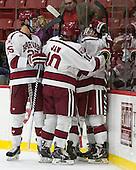 The Crimson celebrate Ryan Donato's (Harvard - 16) goal. - The Harvard University Crimson defeated the visiting Brown University Brown Bears 5-2 (EN) on Saturday, November 7, 2015, at Bright-Landry Center in Boston, Massachusetts.