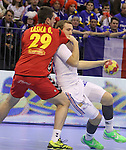 13.01.2013 Granollers, Spain. IHF men's world championship, prelimanary round. Picture show Valentin Porte  in action during game between France vs Montengro at Palau d'esports de Granollers
