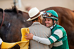 AUG 17: Flavien Prat hugs Juan Leyva after winning the TVG Pacific Classic Stakes at The Del Mar Thoroughbred Club in Del Mar, California on August 17, 2019. Evers/Eclipse Sportswire/CSM