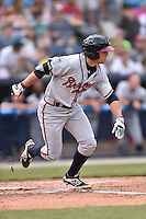 Rome Braves center fielder Joseph Daris (11) swings at a pitch during a game against the Asheville Tourists on May 15, 2015 in Asheville, North Carolina. The Braves defeated the Tourists 6-0. (Tony Farlow/Four Seam Images)