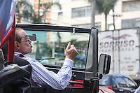 SAO PAULO, SP, 16.09.2014 - ELEICOES 2014 - PAULO MALUF - O deputado federal Paulo Maluf(PP), que tenta a reeleição, fez carreata no bairro do Bras na regiao central de São Paulo, nesta terça-feira, 16. O político teve a candidatura barrada pelo Tribunal Regional Eleitoral (TRE) no início do mês por suposto ato de improbidade administrativa durante a construção de um túnel quando ele era prefeito de São Paulo (1993-1996). Maluf recorreu da decisão. (Foto: William Volcov / Brazil Photo Press).