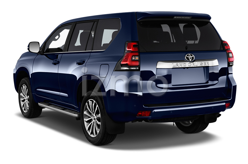 Car pictures of rear three quarter view of a 2018 Toyota Landcruiser Premium 5 Door SUV angular rear