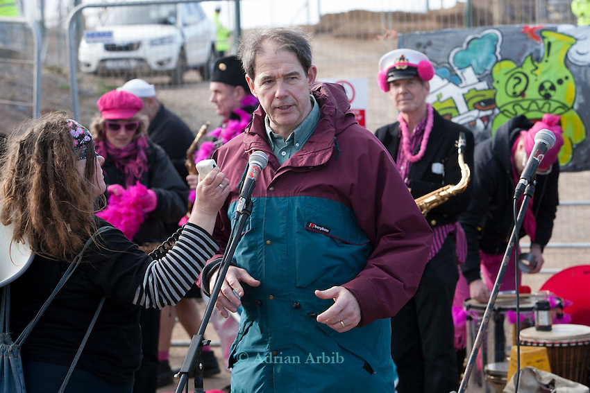 Jonathan Porritt joins protesters at a march against the building of  Hinkley C power station, Somerset  and the UK government's choice of Nuclear power as the mainstay of England's power supply.