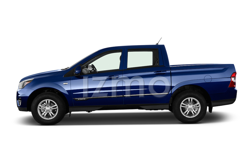 Car Driver side profile view of a2014 Ssangyong Actyon Sports Quartz 4 Door Pick Up Side View