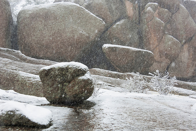 winter nature abstract, boulders in snow near Twin Owls Trailhead, Rocky Mountain National Park, Estes Park, Colorado, USA