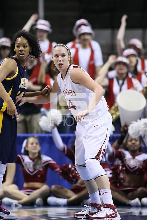 10 March 2008: Stanford Cardinal Kayla Pedersen during Stanford's 56-35 win against the California Golden Bears in the 2008 State Farm Pac-10 Women's Basketball championship game at HP Pavilion in San Jose, CA.