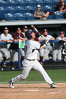 Brandon Caruso (3) of the Pepperdine Waves bats against the Texas A&M Aggies at Eddy D. Field Stadium on February 26, 2016 in Malibu, California. Pepperdine defeated Texas A&M, 7-5. (Larry Goren/Four Seam Images)