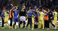 Calcio, Serie A: Roma vs Chievo Verona, Stadio Olimpico, , 7 maggio  2013..ChievoVerona players celebrate at the end of the Italian serie A football match between Roma and ChievoVerona at Rome's Olympic stadium, 7 maggio  2013. ChievoVerona won 1-0..UPDATE IMAGES PRESS/Isabella Bonotto