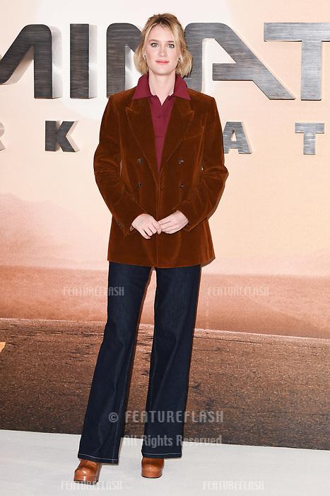 "LONDON, UK. October 17, 2019: Mackenzie Davis at the ""Terminator: Dark Fate"" photocall, London.<br /> Picture: Steve Vas/Featureflash"