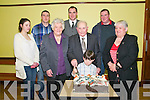 91st Birthady: Michael O'Sullivan, Listowel  celebrating his 91st birthday with his family at a function held at St Patrick's Hall, Listowel to honour his contribution to various committees in Listowel town. L- R : Michelle Boyle, Michael , Catherine, Catherine, Brendan, Micharel, John & Eleanor O'Sullivan and Logan O'Sullivan in front.