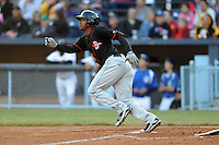 Delmarva Shorebirds shortstop Mychal Givens #1 runs to first during a game between the Delmarva Shorebirds and the Asheville Tourists at McCormick Field, Asheville, North Carolina April 6, 2012. The Shorebirds won the game 7-2  (Tony Farlow/Four Seam Images)..