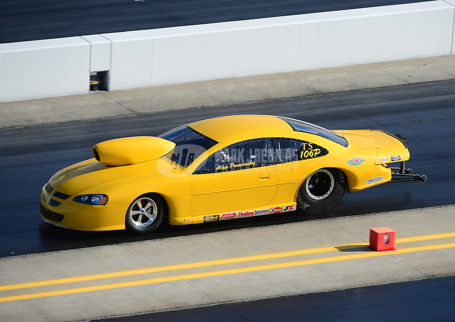 Apr. 14, 2012; Concord, NC, USA: NHRA top sportsman driver Alan Pruciensky during qualifying for the Four Wide Nationals at zMax Dragway. Mandatory Credit: Mark J. Rebilas-