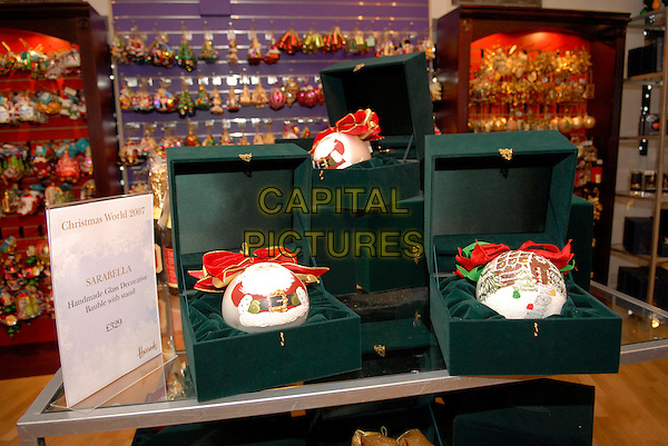 "SARABELLA BAUBLE - £329.The opening of ""Christmas World"" at Harrods, Knightsbridge, London, England, 7th August 2007..decoration hand-made xmas.CAP/FIN.©Steve Finn/Capital Pictures."