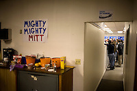 Hand-painted signs hang on the walls of the Mitt  Romney New Hampshire campaign headquarters in Manchester, New Hampshire, on Jan. 7, 2012. Romney is seeking the 2012 Republican presidential nomination.