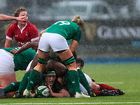 9nd February 2020; Energia Park, Dublin, Leinster, Ireland; International Womens Rugby, Six Nations, Ireland versus Wales; Kathryn Dane (Ireland) places the ball back in a ruck