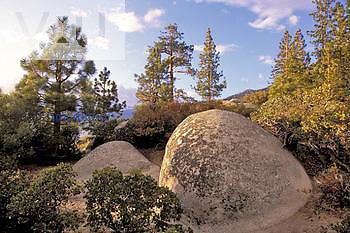 Boulders at sunset, Lake Tahoe Nevada State Park, Nevada, USA
