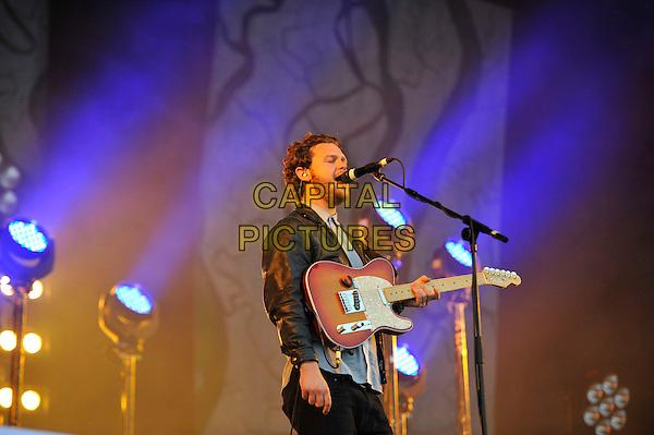 Joe Newman of Alt-J <br /> Performing at Glastonbury Festival, Worthy Farm, Pilton, Somerset, <br /> England, UK, 28th June 2013.<br /> half length microphone singing guitar live on stage concert gig <br /> CAP/MAR<br /> &copy; Martin Harris/Capital Pictures