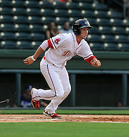 Catcher Blake Swihart (10) of the Greenville Drive in a game against the Rome Braves on July 6, 2012, at Fluor Field at the West End in Greenville, South Carolina. Swihart was a first-round pick (26th overall) by the Boston Red Sox in the 2011 First-Year Player Draft.  Greenville won, 4-0. (Tom Priddy/Four Seam Images)