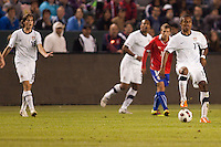 USA's Mixx Diskerud (16) looking for the ball from teammate Juan Agudelo (17) as Teal Bunbury (9) looks on. US Men's National team played the National team of Chile to 1-1 draw at Home Depot Center stadium in Carson, California on Saturday January 22, 2010.