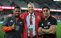 From left, former Highlanders teammates Waisake Naholo, James Haskell and Malakai Fekitoa after the 2017 DHL Lions Series rugby union 3rd test match between the NZ All Blacks and British & Irish Lions at Eden Park in Auckland, New Zealand on Saturday, 8 July 2017. Photo: Dave Lintott / lintottphoto.co.nz
