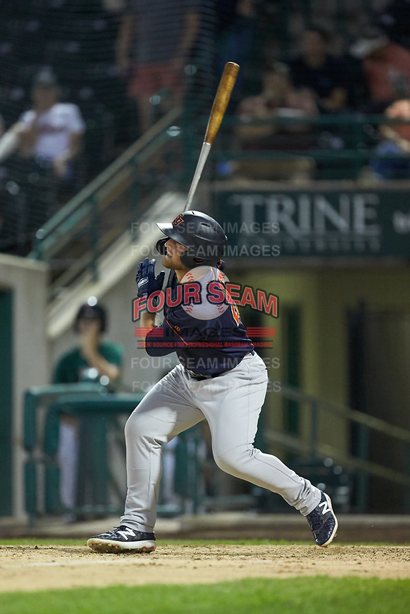 Erik Ostberg (21) of the Bowling Green Hot Rods follows through on his swing against the Fort Wayne TinCaps at Parkview Field on August 20, 2019 in Fort Wayne, Indiana. The Hot Rods defeated the TinCaps 6-5. (Brian Westerholt/Four Seam Images)