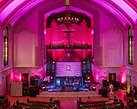 May 19, 2018. Durham, North Carolina.<br /> <br /> Alexandre Bazine at 1st Presbyterian Church. <br /> <br /> Moogfest 2018 showcases 4 days of music, art and technology spread out amongst venues in and around downtown Durham.