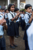 Anjali Kanel (centre), aged 6, lines up with other students for morning assembly in the Vasudha Vidya Vihar school in Khargone, Madhya Pradesh, India on 12 November 2014. Anjali is the daughter of a Fairtrade cotton farmer and her ambition is to be a Computer Engineer.