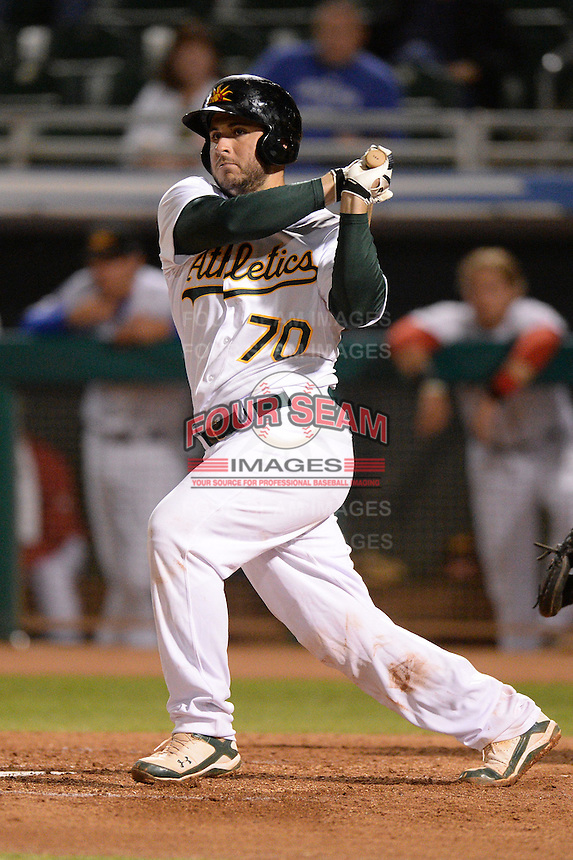 Mesa Solar Sox catcher David Freitas (70), of the Oakland Athletics organization, during an Arizona Fall League game against the Peoria Javelinas on October 17, 2013 at HoHoKam Park in Mesa, Arizona.  Mesa defeated Peoria 6-1.  (Mike Janes/Four Seam Images)