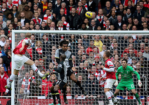 17.11.2012. London, England. Per Mertesacker with the looping Header to Score during The Barclays Premier League Match Against Tottenham Hotspur AT The Emirates
