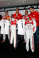 Real Madrid players Iker Casillas, Sergio Ramos and F1 driver Marc Gene participate and receive new Audi during the presentation of Real Madrid's new cars made by Audi at the Jarama racetrack on November 8, 2012 in Madrid, Spain.(ALTERPHOTOS/Harry S. Stamper) .<br /> &copy;NortePhoto