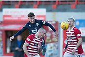 2nd February 2019, Hope CBD Stadium, Hamilton, Scotland; Ladbrokes Premiership football, Hamilton Academical versus Dundee; Ethan Robson of Dundee competes in the air with Darian MacKinnon of Hamilton Academical